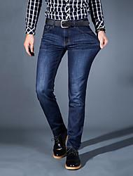 Homme simple Taille Normale Micro-élastique Jeans Pantalon,Droite Mince Couleur Pleine