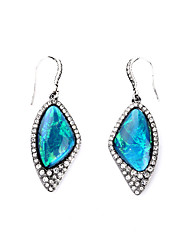 Hoop Earrings Crystal Euramerican Personalized Chrome Irregular Blue Jewelry For Housewarming Thank You Business 1 pair