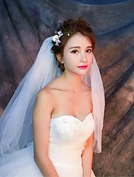 Wedding Veil Four-tier Elbow Veils Fingertip Veils Cut Edge Tulle White Ivory