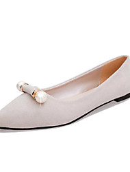 Women's Flats Spring Summer Fall Light Soles Suede Outdoor Office & Career Casual Walking Flat Heel Imitation PearlBlushing Pink Blue