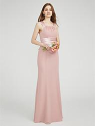 LAN TING BRIDE Floor-length Square Bridesmaid Dress - Elegant Sleeveless Chiffon Stretch Satin