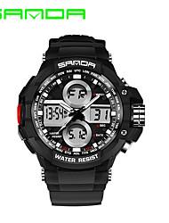 SANDA Мужской Спортивные часы Нарядные часы электронные часы Кварцевый ЦифровойКалендарь Защита от влаги С двумя часовыми поясами тревога