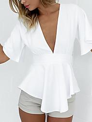 Damen Solide Sexy Einfach Niedlich Ausgehen Strand Urlaub Hemd,V-Ausschnitt Alle Saisons Sommer ½ Länge Ärmel Kunstseide Dünn