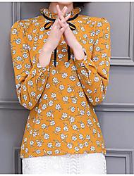 Mujer Vintage Chic de Calle Noche Formal Vacaciones Primavera Verano Blusa,Cuello Barco Un Color Estampado Manga Larga Otro Fino