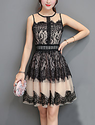 Women's Going out Beach Holiday Sexy Street chic A Line Lace Dress,Color Block Patchwork Round Neck Above Knee Sleeveless Polyester Summer