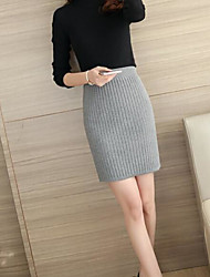 Women's Knee-length Skirts,Simple Bodycon Solid