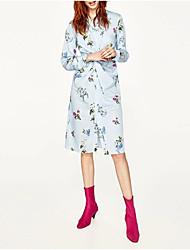 Feminino Solto Reto Vestido,Para Noite Casual Simples Moda de Rua Floral Colarinho de Camisa Médio Manga Longa Seda Algodão Verão Outono