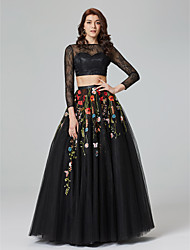 TS Couture Formal Evening Dress - See Through Two Pieces A-line Bateau Floor-length Lace Tulle with Appliques