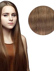 7 pièces / set # 8 cendres brun clip dans les extensions de cheveux 14inch 18inch 100% de cheveux humains