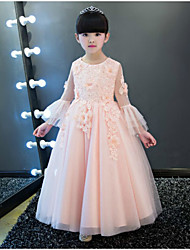 BONJEAN A-line Ankle-length Flower Girl Dress - Chiffon Jewel with Appliques Lace