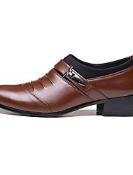 Masculino-Sapatos De Casamento-Conforto Sapatos formais-Rasteiro Salto Grosso-Preto Marron-Couro Ecológico-Casamento Escritório &