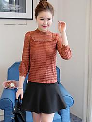 Damen Solide Einfach Ausgehen T-shirt,Rundhalsausschnitt Langarm Polyester