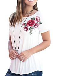 Mujer Vintage Chic de Calle Casual/Diario Noche Verano Otoño Camiseta,Escote Redondo Floral Bordado Manga Corta Poliéster Medio