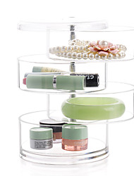 Acrylic Transparent 4 Layer Rotatable Cylinder Large Capacity Makeup Cosmetics Jewelry Storage Box Cosmetic Organizer Jewelry Display Box
