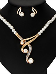 Jewelry Set Imitation Pearl Ribbons Alloy Crown 1 Necklace 1 Pair of Earrings For Wedding Party Anniversary Gift Casual Valentine1 Set