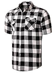 Herren Solide Einfarbig Retro Einfach Lässig/Alltäglich T-shirt,Peter Pan-Kragen Sommer Kurzarm Baumwolle Mittel