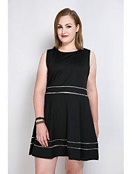 Really Love Women's Plus Size Casual/Daily Party Sexy Simple Cute A Line Loose Skater Dress,Color Block Round Neck Knee-length SleevelessCotton