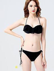 Bikinis - Einfarbig Spitze Riemchen