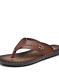 Men's Sandals Spring Summer Comfort PU Casual Flat Heel Khaki Dark Brown Navy Blue