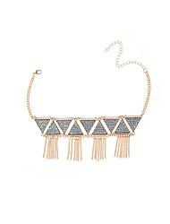 Women's Strands Necklaces Rhinestone Triangle Shape Rhinestone AlloyTassel Geometric Tassels Euramerican Fashion Personalized Statement