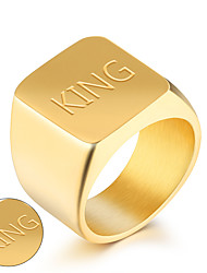 Fashion simple optical surfaces of the square domineering men's ring ring ring single golden business metrosexual man