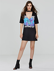 Women's Casual/Daily Club Sexy Street chic Loose Dress,Print Deep V Mini Short Sleeve Polyester Summer Mid Rise Micro-elastic Medium
