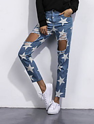 Women's High Rise Micro-elastic Jeans Pants,Contemporary Slim Print