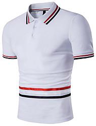 Для мужчин На каждый день Лето Футболка Рубашечный воротник,Простое Полоски С короткими рукавами,Хлопок,Плотная