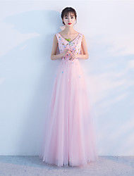 Formal Evening Dress A-line V-neck Floor-length Tulle with Appliques Beading