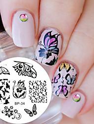 Романтический узор бабочки ногтей печать штамп изображение пластина гвоздь штамповки пластина родился довольно bp34