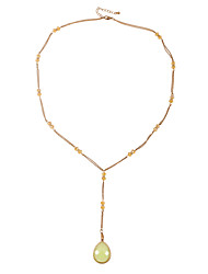 Simple Glass Beaded Chains Y Shaped Necklace with Teardrop Pendant