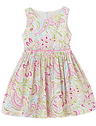 Girl's Going out Casual/Daily Solid Floral Dress,Cotton Polyester All Seasons Short Sleeve