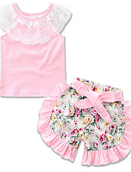 Girls' Going out Casual/Daily Holiday Floral Print SetsCotton Summer The Lace Short Pant Clothing Set Baby Kids Lace Tee Clothes