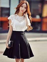 Feminino Bainha balanço Preto e Branco Vestido,Para Noite Casual Trabalho Vintage Moda de Rua Sofisticado Estampa Colorida RetalhosDecote