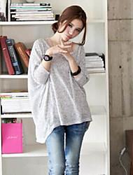 Tee-shirt Femme,Couleur Pleine Décontracté / Quotidien simple Printemps Manches Longues Col Arrondi Spandex Fin