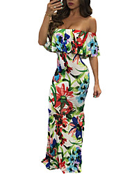 Women's Off Shoulder/Ruffles and Frills/Floral Patterns Party Sexy Swing Dress,Print Boat Neck Short Sleeve Spandex Summer High Rise Stretchy Medium