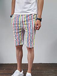 Homme simple Taille Normale Micro-élastique Short Pantalon,Ample Rayé