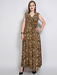 Really Love Women's Plus Size Casual/Daily Party Sexy Vintage Simple Loose Shift Swing Dress,Solid Leopard V Neck Maxi SleevelessCotton Modal