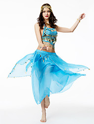 Belly Dance Outfits Women's Performance Chiffon Tassel Paillettes 2 Pieces Sleeveless High Skirts Top