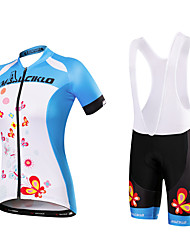 Cycling Jersey with Bib Shorts Women's Short Sleeves Bike Jersey Bib Tights Clothing Suits Quick Dry Anatomic Design Moisture