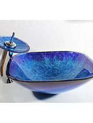 Contemporary Square Sink Material is Tempered Glass Bathroom Sink