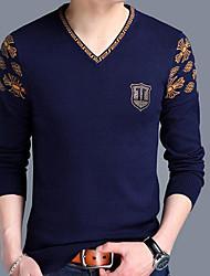 Для мужчин На каждый день Обычный Пуловер С принтом,V-образный вырез Длинный рукав Нейлон Весна Средняя Слабоэластичная