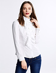 Women's Ruffle Fashion Work Chiffon Long Sleeve Pure Color Regular Shirt