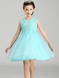 Robe de bal courte / mini robe de fille de fleur - tulle en satin de satin en tulle sans manches en nylon avec fleur