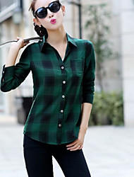 Women's Casual/Daily Simple Shirt,Plaid Stand Long Sleeve Cotton