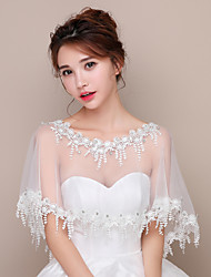 Capelets Lace Tulle Wedding Party/Evening Lace Rhinestone Tassels