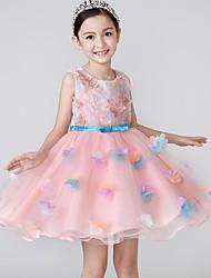 De Baile Curto/Mini Vestido para Meninas das Flores - Algodão Cetim Tule Decorado com Bijuteria com Apliques Laço(s) Bordado Faixa / Fita