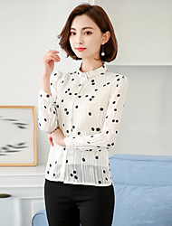 Women's Going out Casual/Daily Work Vintage Simple Cute All Seasons Summer Blouse,Polka Dot Stand Long Sleeve Rayon Thin