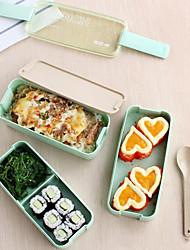 1pcs 3 couches minces bento lunch box conteneur alimentaire conteneur avec cuillère&Sac fourre-tout à lunch four micro-ondes