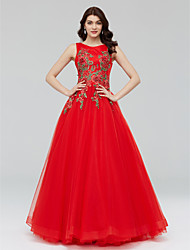 Formal Evening Dress - Floral A-line Jewel Floor-length Tulle with Appliques Crystal Detailing Flower(s) Bandage